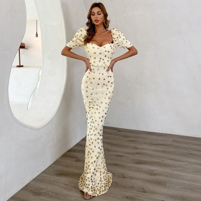 2021 Summer New Sequins Square Collar Mid-length Wave Point Dress for Women  Party Dresses Women Evening
