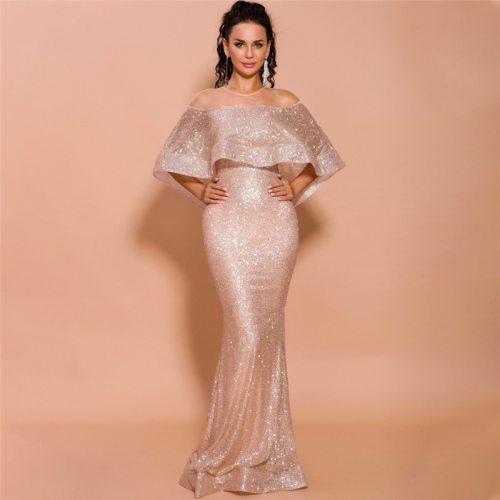 Fashion Boat Neck Off the Shoulder Women Mermaid Dress Elegant Gold Sleeveless Sequined Female Maxi Party Dress Real Photo