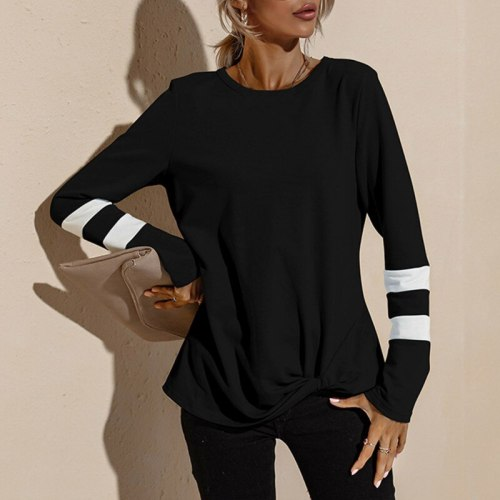 Women's Fashion Color Striped  Knot T-Shirt Spring Autumn Round Neck Casual Top Long Sleeve Sweater Tops
