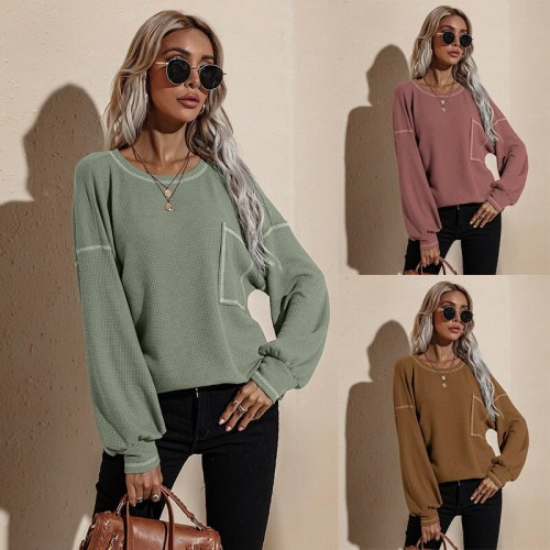 Women's Hoodies Autumn Solid Color Hoodie Casual O-Neck High Quality Fashion Minimalist Loose Bat Long Sleeved Tops