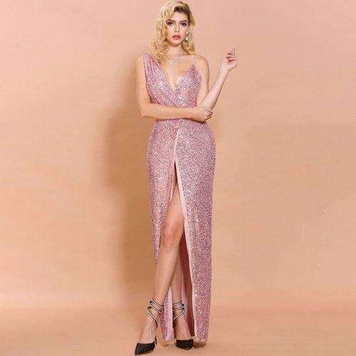 Sexy Deep V Neck Backless High Split Women Party Dresses Sequins Sleeve Solid Color Elegant Women Dresses