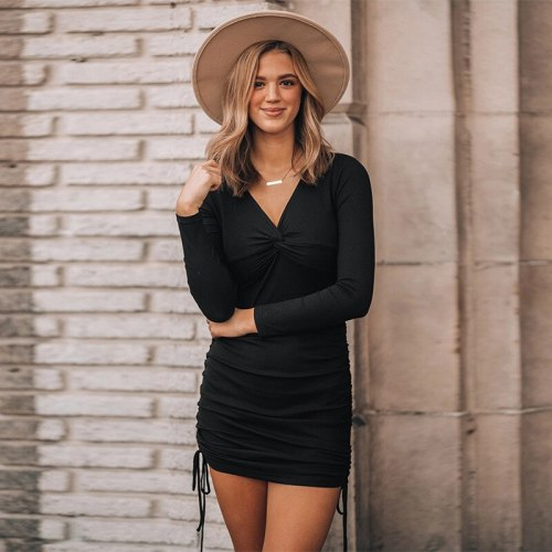 Elegant Fashion Women Long Sleeve Deep Sexy Long Sleeve Slim Elastic Bodycon Bandage Dress Pleated Hip Dresses for Women