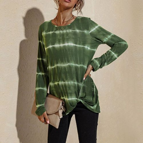 Spring And Autumn Leisure Long Sleeve T-Shirt Women's Round Neck Staining Print Striped Shirt Top