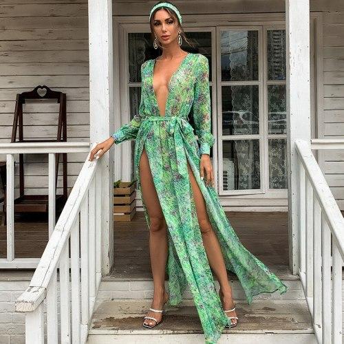 Woman Dress Green V-neck Chiffon Floral Print Dress Spring Waist Slim Holiday Style Split Irregular Long Dresses