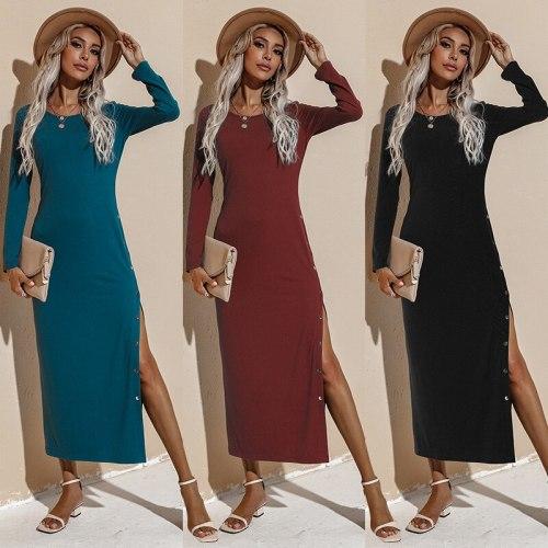 Ebuytide Dresses Women's Autumn 2021 New Solid-colored Long-sleeved Dress Fashion Slim Long Dress O-Neck Pencil Casual Dress