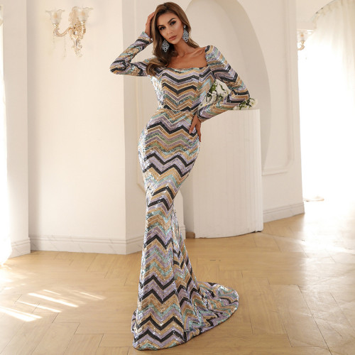 Square Neck Long Sleeve Backless Color Stripe Sequined Mermaid Party Dress Vintage Long Bodycon Dresses Women Party  Dress