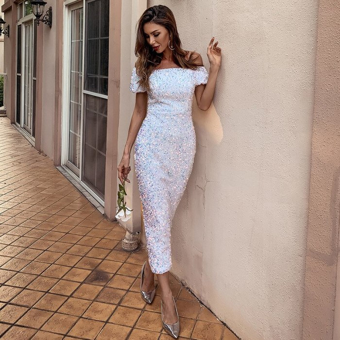 2021 New Banquet Dress Women One-word Shoulder Dress Solid Color Chic Vestidos Fashion Sequins Party Bodycon Dress