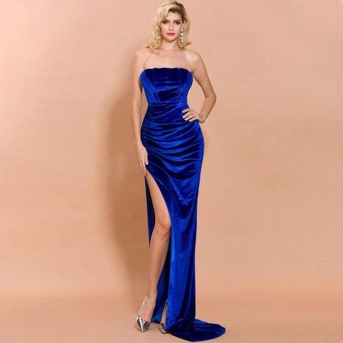 Women's Sexy Strapless Sleeveless Slim Long Dress High Waist Full-Hip Hollow Floor-Length Dresses Elegant Female Partywear Dress