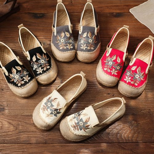 Retro Floral Flats Women Shoes 2021 New Spring/Autumn Embroider Round Toe Handmade Casual Concise Leisure Ladies Shoes