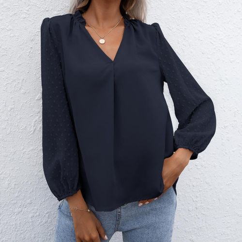 Puff Sleeve Top Long Sleeve Blouses Women Casual 2021 New Summer V Neck Shirt Simple Solid Color Female Clothing Loose Plus Size