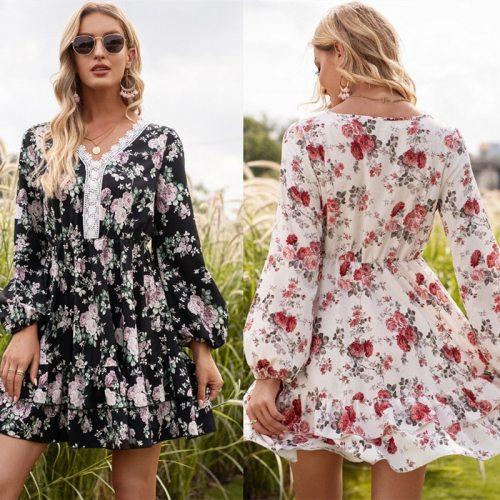 Spring  Autumn Long Lantern Sleeve Print Wrap Dress Women Elegant Ruffles V Neck Party Dresses Female A Line Office Clothers Ves