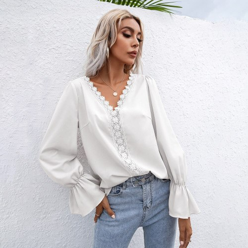 2021 Autumn Elegant Flare Sleeve Women Blouses Solid V-neck Hollow Out Office Lady White Shirt Fashion Casual Long Sleeve Tops