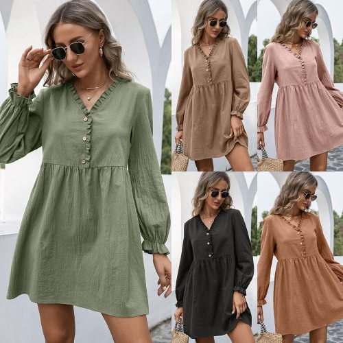 Loose Pullover Pure Color A-Line Dress 2021 Fall Winter Casual Women's Dress With Wood Ears And Lotus Sleeves V-Neck Dress Women