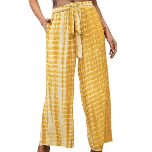 Tie Dye Loose Pants Spring Autumn High Waist Elastic Drawstring Pocket Gradient Printed Wide Leg Trousers
