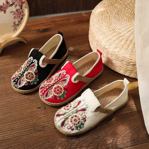 Retro Women Handmade Loafers Ladies Embroidered Espadrilles Spring Summer Comfortable Slip-on Flat Sneakers Shoes