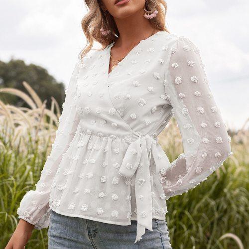 Women's Loose OL Blouse Deep V Neck White Jacquard Shirt Female Long Sleeve Chic Shirt Sexy Polka Dot Solid Color Mesh Blouse