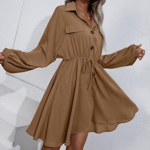 Casual Long Sleeve Solid Mini Shirt Dress Woman Spring Autumn Fashion Button Elastic Waist Dresses Black Lace Up Slim Robe Femme