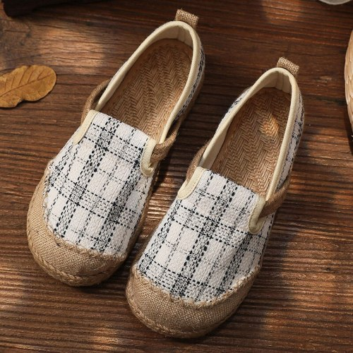 Spring/Autumn 2021 New Flats Women Shoes Retro Shallow Handmade Round Toe Cotton Linen Concise Casual Ladies Shoes
