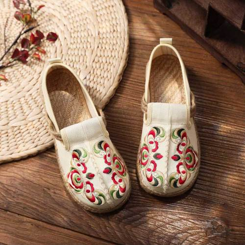 Retro Women Flower Embroidered Canvas Slip On Sneakers Handmade Ladies Casual Loafers Linen Woven Sole Flat Shoes