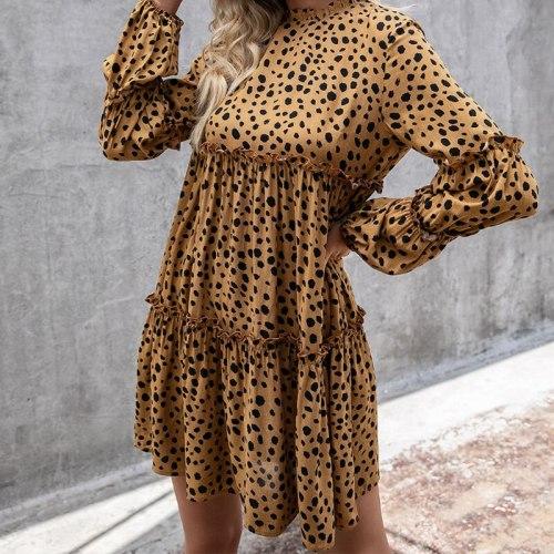 Leopard Dress Women Summer Casual Beach Chiffon Short Sleeve Polka Dot Boho Evening Party Elegant Mock Neck Layered Sundress
