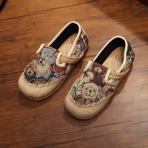 Spring Autumn Women Linen Cotton Loafers Bear Embroidered Hemp Rubber Bottom Breathable Casual Flat Shoes
