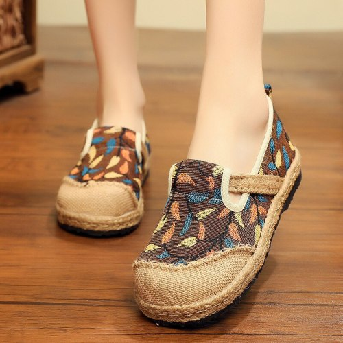 2021 New Spring/autumn Retro Handmade Cotton Hemp Casual Round Toe Linen Cotton Shoes Womens Flat Shoes Fisherman