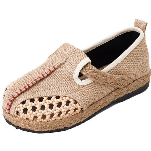 Breathable Linen Trend Lazy Flat Shoes Walking Shoes Round Mianma Folk canvas Shoes For Women Slip Flat Foot Shoes Hollow