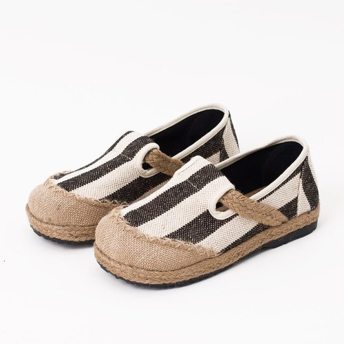 Striped Women Casual Cotton Cloth Loafers Handmade Slip on Ladies Thick Hemp Soled Canvas Flat Shoes