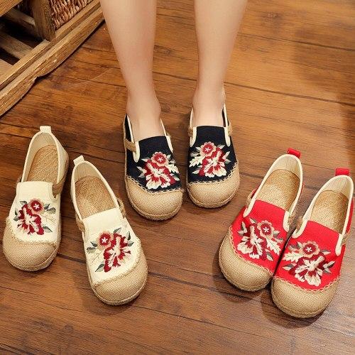 2021  Vegan Handmade Women Linen Cotton Loafers Espadrilles Flower Embroidered Ladies Casual Flat Platform Sneakers Shoes