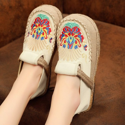 Women Embroidered Flat Casual Canvas Shoes folk-custom National Shoe
