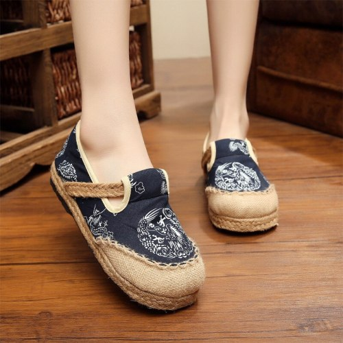 New Ethnic  Female Vintage Shoes Handmade Shoes Chinese Style Anti-Slip Dragon Pattern