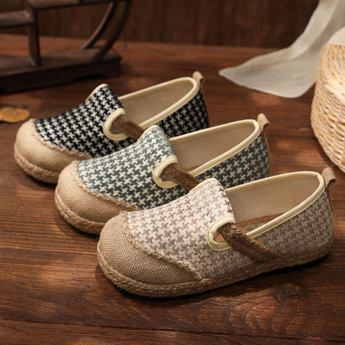 Houndstooth Embroidery Women Handmade Linen Cotton Slip On Loafers Ladies Casual Comfortable Sneakers Flat Hemp Shoes