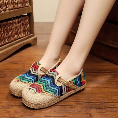 Handmade Hemp Rainbow Embroidery Womens Casual Linen Cotton Loafers Slip on Vintage Ladies Canvas Walking Flat Shoes