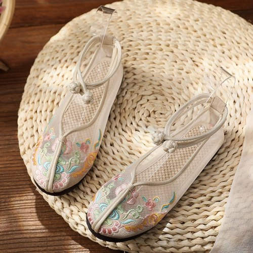 Mesh Flat Embroidered Shoes  New Fashion Casual Embroidered Women's Shoes, Cotton and Linen Elegant Ethnic Style Women's Shoes