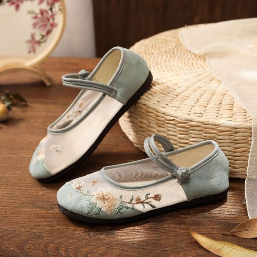 Veowalk Summer Women Casual Cotton Mesh Embroidered Mary Jane Flats Elegant Ladies Comfortable Breathable Soft Ballet Shoes