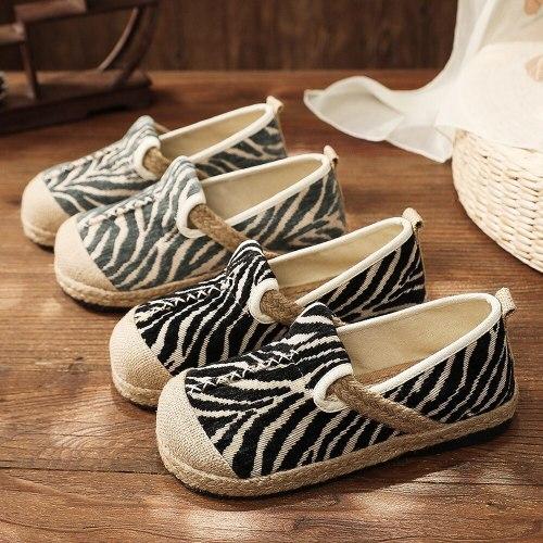 Handmade Women Leopard Linen Cotton Slip-on Shoes Ladies Casual Canvas Flat Espadrilles Breathable Comfortable Loafers