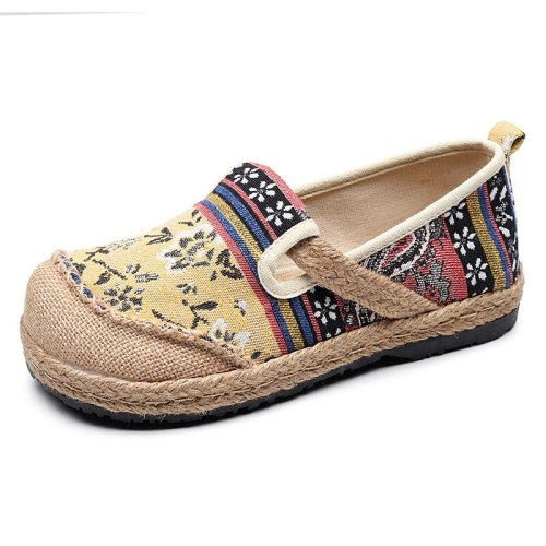 Handmade Women Linen Cotton Slip-on Loafers Espadrilles Bohemian Embroidered Ladies Casual Flat Platform Sneakers Shoes