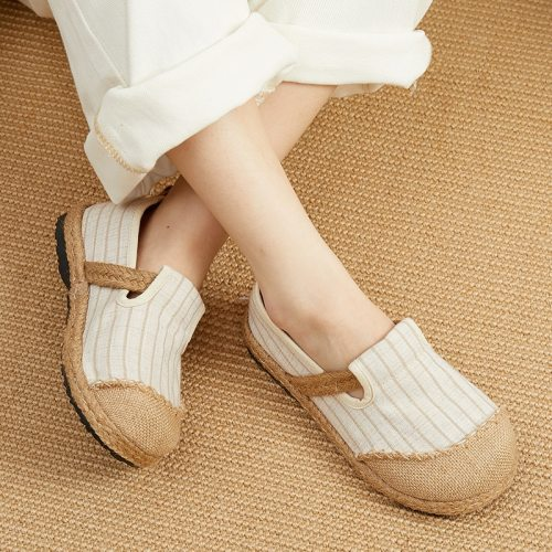 Flats Women Shoes Round Toe 2021 New Cotton Linen Shallow Concise Handmade Striped Leisure Comfortable Ladies Shoes