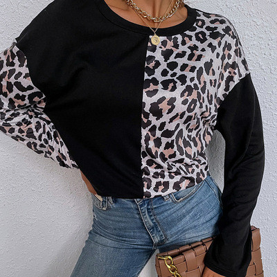 Full Sleeve Tee Shirt Femme 2021 Summer Clothes For Women Leopard Print Patchwork Tshirt Ladies Tops Casual Wear