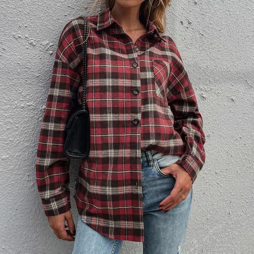 Autumn New Women Vintage Plaid Oversized Blouse Lantern Sleeve Turn-Down Collar Spring Shirts