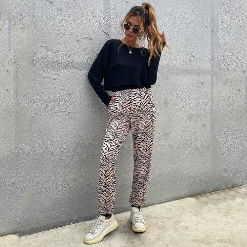 2 Pieces Women's Set Long Sleeve T-shirt + Leopard Pants High Street Girls Outwear Casual Women Pajama Suits