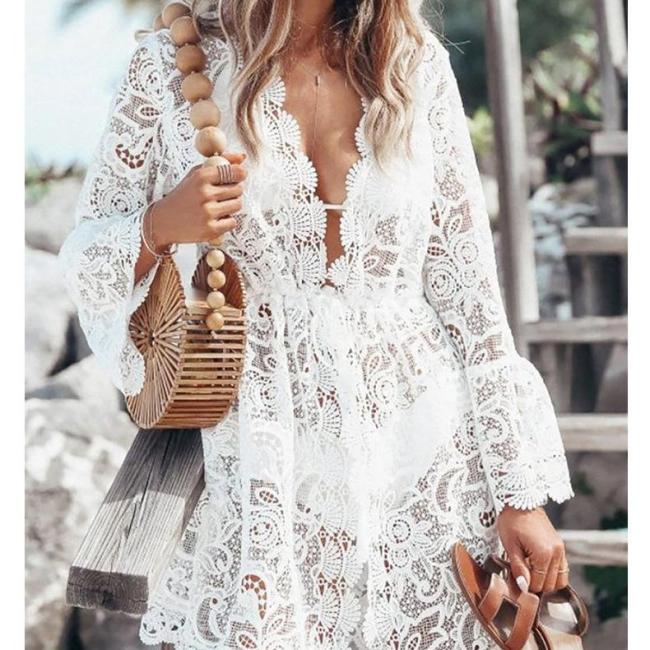 2021 New Summer Women Bikini Cover Up Floral Lace Hollow Crochet Swimsuit Cover-Ups Bathing Suit Beachwear Tunic Beach Dress Hot