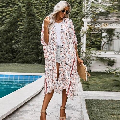 2021 Fashion Long Print Sexy Half Sleeve Casual Loose Beach Skirt Sunscreen Cardigan Swimsuit Women