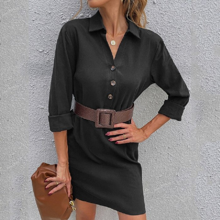 2021 High-Quality Autumn New Solid Color Single-Breasted Lapel Long-Sleeved Loose European And American Dress Women
