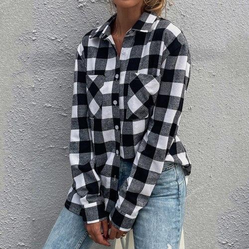 2021 Autumn New Women Long Sleeve Black And White Plaid Casual Shirt Lady Turn-Down Collar Slim Fashion Jacket