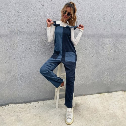 2021 New Spring Autumn Two Color Stitching Symmetric Long Strap Women Jumpsuits Casual Fashion High Waist Trousers