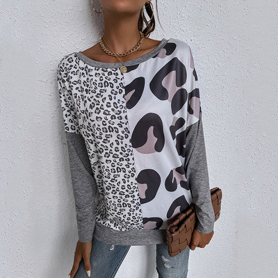 European and American Spring New Color-blocking Long-sleeved Shirt Women's Round Neck Pullover Simple T-shirt