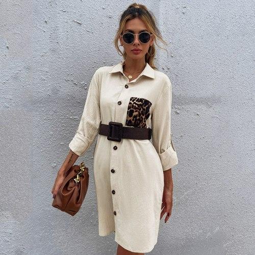Single Medium Long Oversize Dress Women 2021 New Casual Turn Down Collar Leopard Pocket Full Sleeve Ladies Midi Dresses