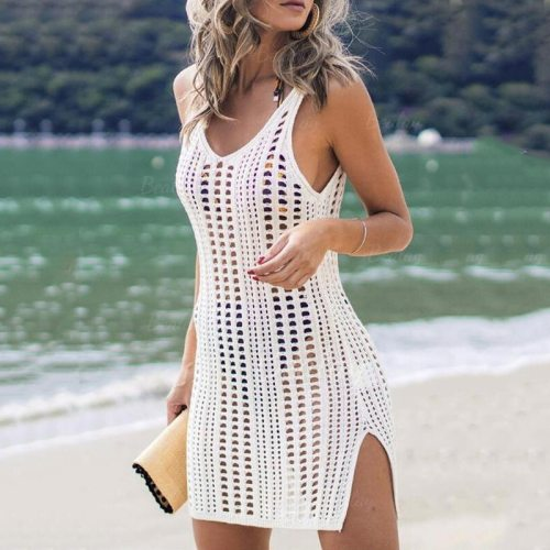 Sexy Hollow Out Beach Dress Women V Neck Sleeveless Crochet Swimsuit Cover Up Vestidos Female Bathing Suit