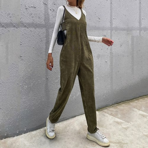 2021 Autumn New Solid Sleeveless V Neck Bow Backless Women Jumpsuits Army Green Casual Fashion Suspenders Trousers
